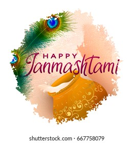 Happy Janmashtami Indian fest decoration background. Celebration of birth of Lord Krishna. Template for flyer, logo, banner, greeting cards. Hand drawn Vector illustration of Dahi Handi on Janmashtami