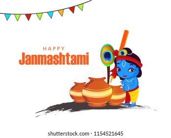 Happy Janmashtami. Indian festival Dahi handi on Janmashtami, celebrating birth of Krishna. Abstract background, Template for creative flyer, banner, greeting cards Vector illustration