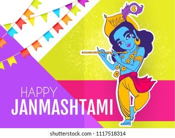Happy Janmashtami. Joung Lord Krishna Playing Flute. Vector illustration