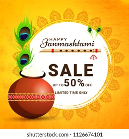 Happy Janmashtami limited time sale banner design with 50% off on abstract yellow background for festival celebration.
