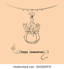 happy janmashtami pot vector illustration
