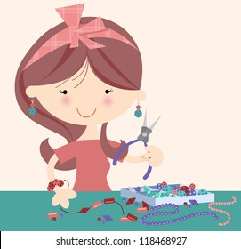 Happy Jeweller Designer Cheerful cute female with beads and jewellery pliers