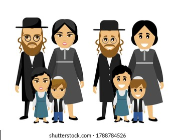 Happy jewish family in national dress. Ethnic. Children and parents. Parenting. Father, mother, kids, son, daughter. Dad, daddy. Mom. Kid. Brother, sister. Siblings. Husband, wife. Boy, girl. Couple.