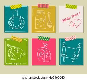 Happy Jewish new year, Rosh Hashanah, Shana Tova vector greeting cards