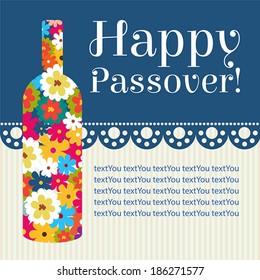 Happy jewish passover holiday greeting card design.