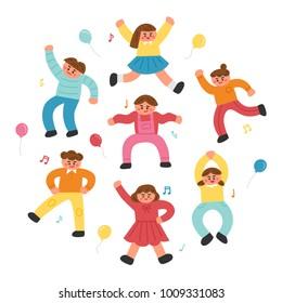 happy joyful dancing children characters hand drawing style vector illustration flat design