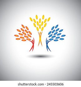 happy, joyful, excited people as trees of life - eco concept vector. This graphic icon also represents joy, happiness, friendship, education, peace, development, healthy growth, sustainability