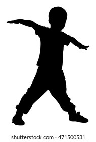 Happy joyful kid, little boy doing exercises vector silhouette isolated on white background. Funny boy playing plane game. Spread hands flying symbol widespread hands open. Smiling child enjoy workout