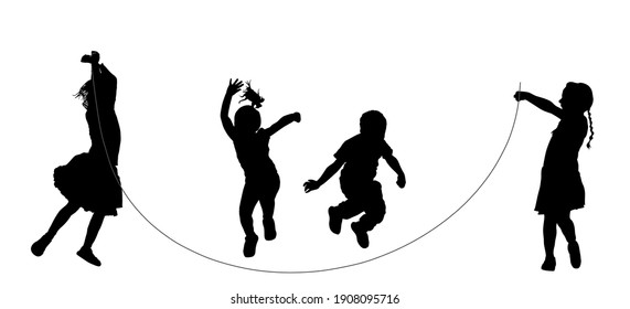 Happy joyful kids, little boys and girls doing exercises, skipping with jump rope vector silhouette isolated on white. Funny game children jumping rope. Smiling child enjoy, daughter and son playing.