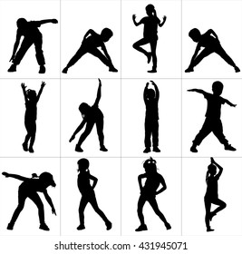 Happy joyful kids, little boys and girls doing exercises, vector silhouette illustration isolated on white background. Active life.  Strain, racking, warming up.