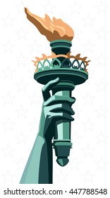 Happy July 4 - US Independence Day. New York. Statue of Liberty torch with manual bronze. Gold fire flames. Blue-green pattern on a white background with stars, vector EPS