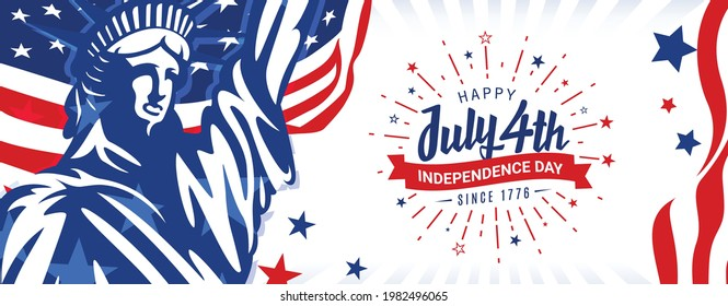 Happy July 4th, independence day, since 1776 with firework starburst and ribbon design on trendy usa waving flag and statue of liberty background.