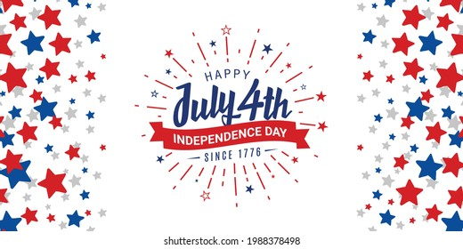 Happy July 4th, independence day, since 1776 with firework starburst and ribbon design on red, blue, and white starburst abstract background, template. Vector illustration.