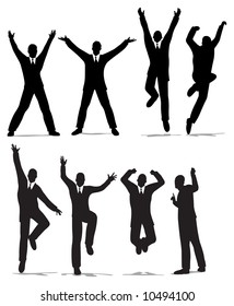 happy jump businessman silhouette vector