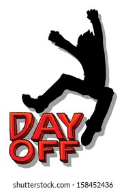 Happy Jump - Day off sign, vector illustration