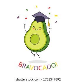 Happy jumping avocado character in graduation hat. Bravocado text. Congratulations, grad card. Vector illustration.