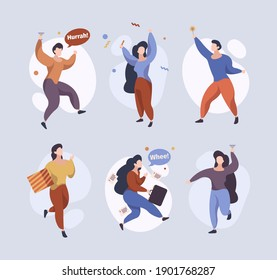 Happy jumping characters. Joyful people running standing jumping funny celebrate persons male female garish vector stylized flat pictures