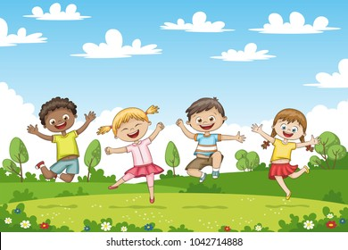 Happy jumping children. Funny cartoon character.