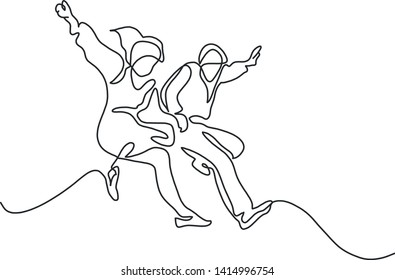 Happy jumping couple. Continuous line drawing. Vector illustration on white background.