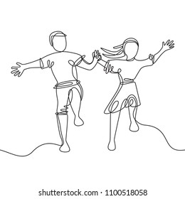 happy jumping couple holding hands - continuous line drawing. Vector illustration isolated on white background