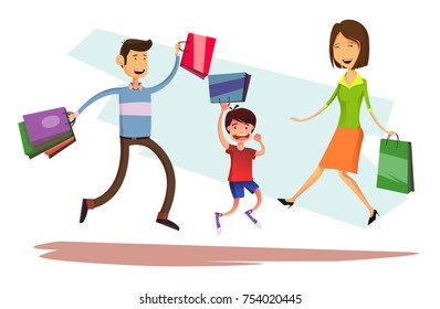 Happy jumping family with shopping bags. Mother, father and kid boy at sale