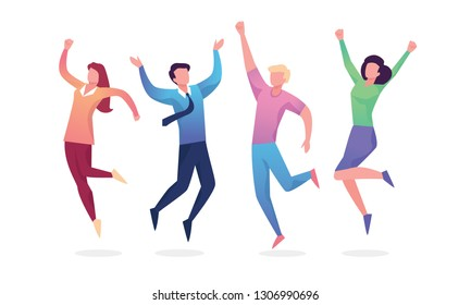 Happy Jumping group of people. Healthy lifestyle, Friendship, Success, celebrating victory concept. Vector illustration