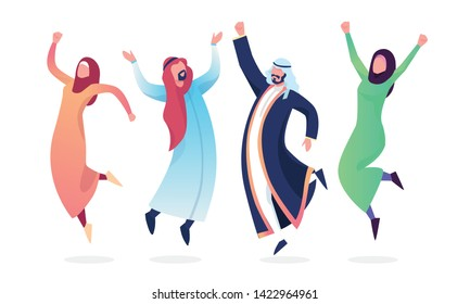 Happy Jumping group of people. Muslims, Arabs, hijab. Happy women and men dressed in national costume. Healthy lifestyle. Vector illustration