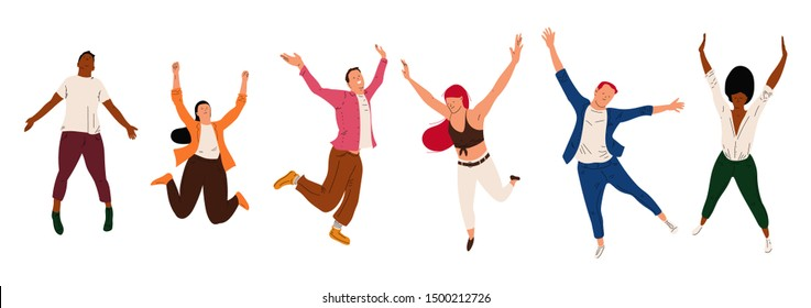 Happy jumping man and woman vector cartoon characters isolated on a white background.