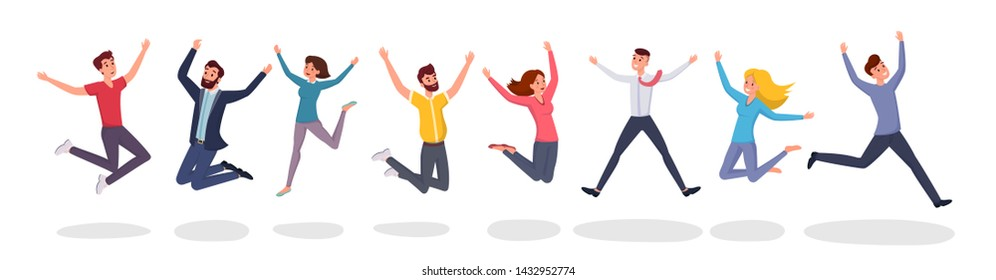 Happy jumping people flat illustration. Group jump photo, students, friends celebrate winning cartoon characters. Victory and teamwork, celebration party isolated on white background
