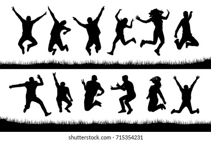 Happy jumping people silhouettes
