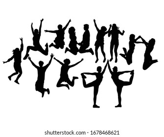 Happy Jumping People Silhouettes, art vector design