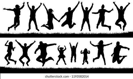 Happy jumping people, silhouettes set. Cheering young children, audience. Bounce trampoline. Isolated Vector Illustration
