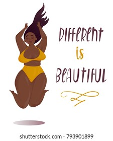 Happy jumping plus size girl. Happy body positive concept. Different is beautiful. Attractive overweight woman. For Fat acceptance movement, no fatphobia. Vector illustration on white background
