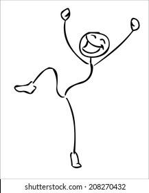 Happy jumping stick man vector illustration