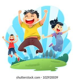 Happy Jumps Joyful day jumps. Editable vector eps 8.