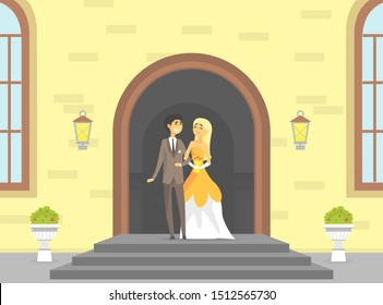 Happy Just Married Couple, Romantic Bride and Groom Characters Standing on the Porch of a Stone Building or Church Vector Illustration