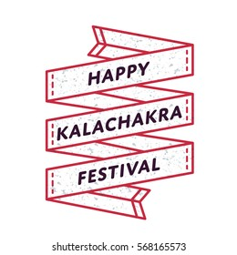 Happy Kalachakra festival emblem isolated vector illustration on white background. 10 april world buddhistic holiday event label, greeting card decoration graphic element