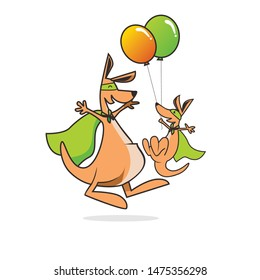 happy kangaroo kid and mother with balloon  and mask vector