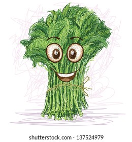 happy kangkong vegetable cartoon character smiling.