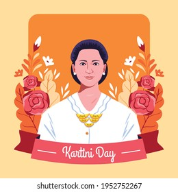 Happy Kartini day celebration. R A Kartini the heroes of women and human right in Indonesia.woman isolated on floral background.