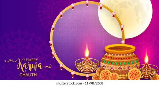 Happy Karwa Chauth festival card with gold patterned and crystals on paper color Background.