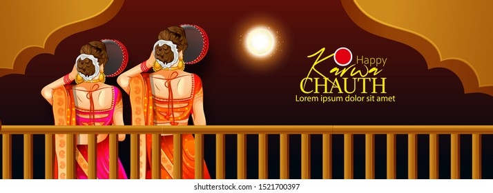 Happy Karwa Chauth festival card with Karva Chauth is a one-day festival celebrated by Hindu women from some regions of India,