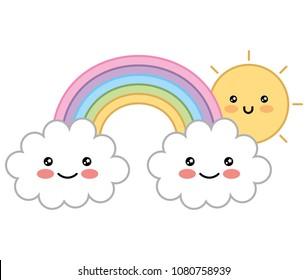 happy kawaii rainbow sun clouds cartoon