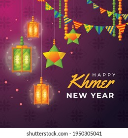 Happy khmer new year with lantern hanging on decorated background.