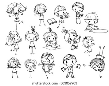 Happy kid cartoon doodle collection
