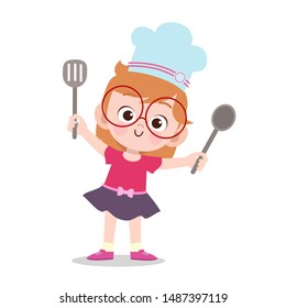 happy kid cooking chef vector illustration