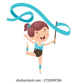 Happy Kid Doing Gymnastics Exercise