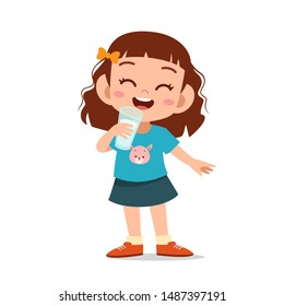 happy kid drink milk vector illustration