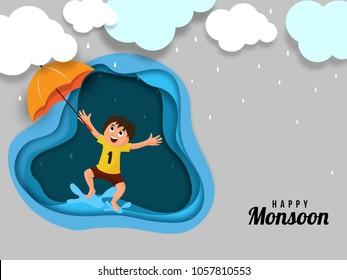 Happy Kid, enjoying rainy season, paper-art layering concept with clouds, umbrella, and raindrops.