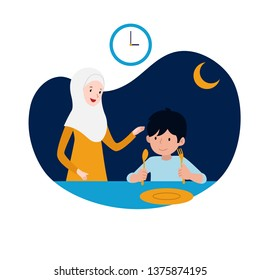 happy kid and his mother ready for sahur or pre-dawn meal before start fasting vector illustration. family ramadan activity concept design.